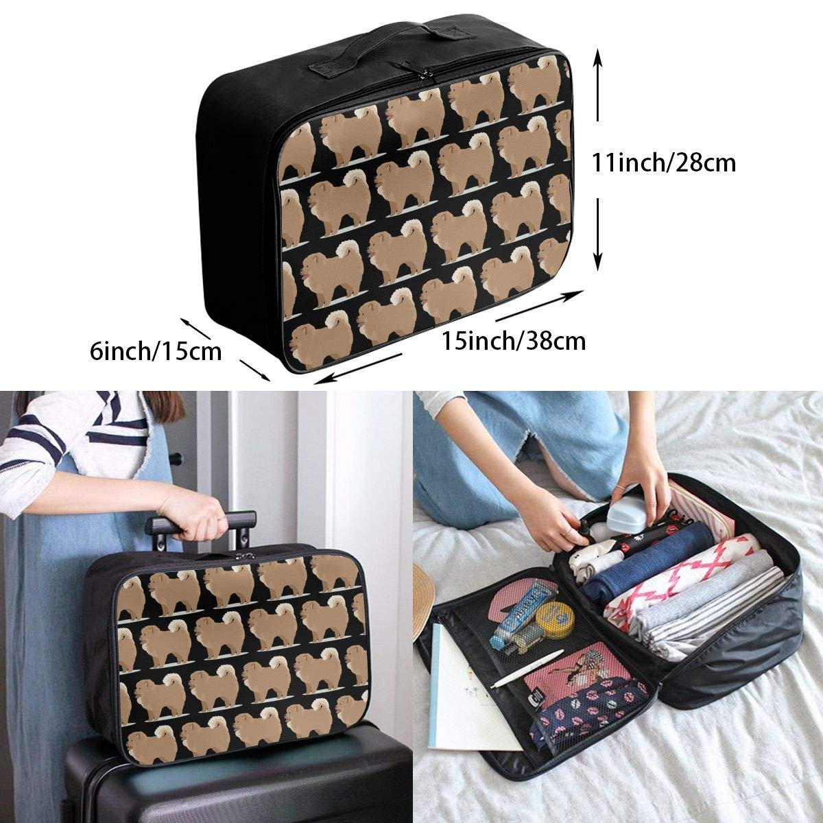 YueLJB Chow Chow Dog Lightweight Large Capacity Portable Luggage Bag Travel Duffel Bag Storage Carry Luggage Duffle Tote Bag