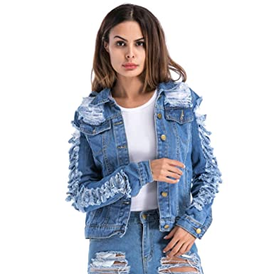 c6f0f5c4592 VICVIK Womens Blue Distressed Button Long Sleeve Denim Jean Jacket Coat  with Pockets Regular and Plus