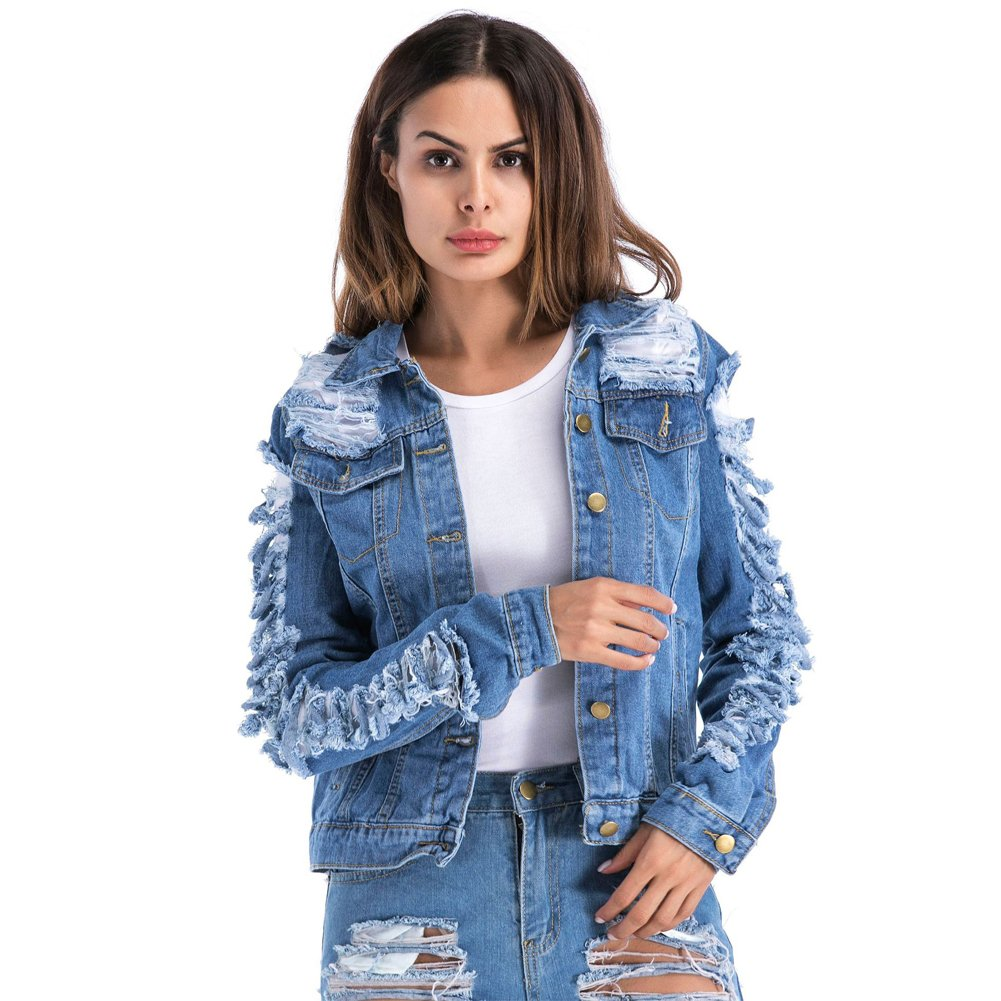 VICVIK Womens Blue Distressed Button Long Sleeve Denim Jean Jacket Coat with Pockets Regular and Plus Size (M, Dark Bule)