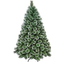 Árvore Pinheiro De Natal Modelo Luxo Cor Verde E Neve Flocos 2,10m 566 Galhos A0621M