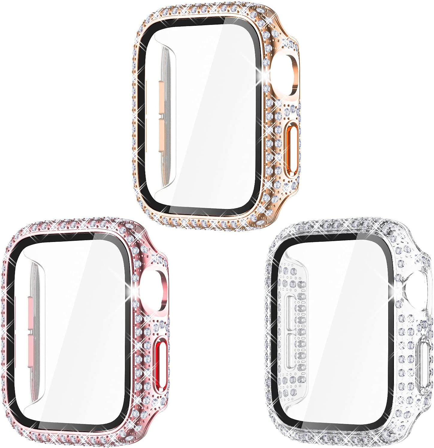 Surace Compatible with Apple Watch Case 40mm with Screen Protector for Apple Watch Series 6/5/4/3/2/1, Bling Case Crystal Tempered Glass Protective Cover 38mm 40mm 42mm 44mm, Rose Gold/Pink/Clear