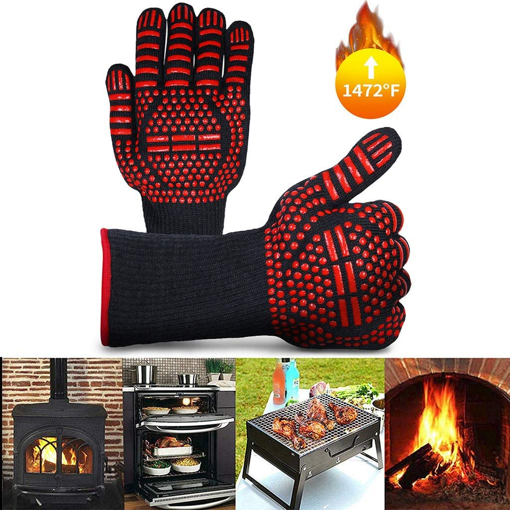 HOSAP Grill BBQ Gloves Heat Resistant 1472F Oven Mitt Set for Kitchen Cooking