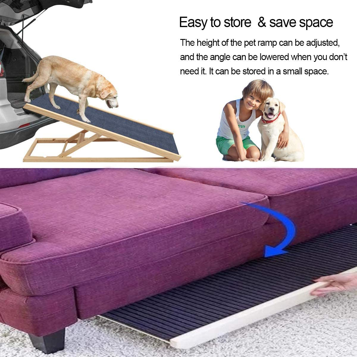Bounabay Dog Ramp Large Dog Pets Ramp for Vehicle Height Adjustable Dog Ramp Support up to 100 Lbs with Non-Slip Carpet Wooden Pets Ladder 2 Levels, 27.56//60cm Length