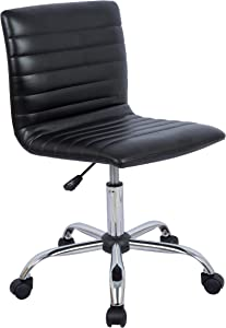 AmazonBasics Modern Adjustable Low Back Armless Ribbed Task Chair, Black