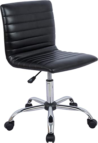 AmazonBasics Modern Adjustable Low Back Armless Ribbed Task Desk Chair, Black, BIFMA Certified