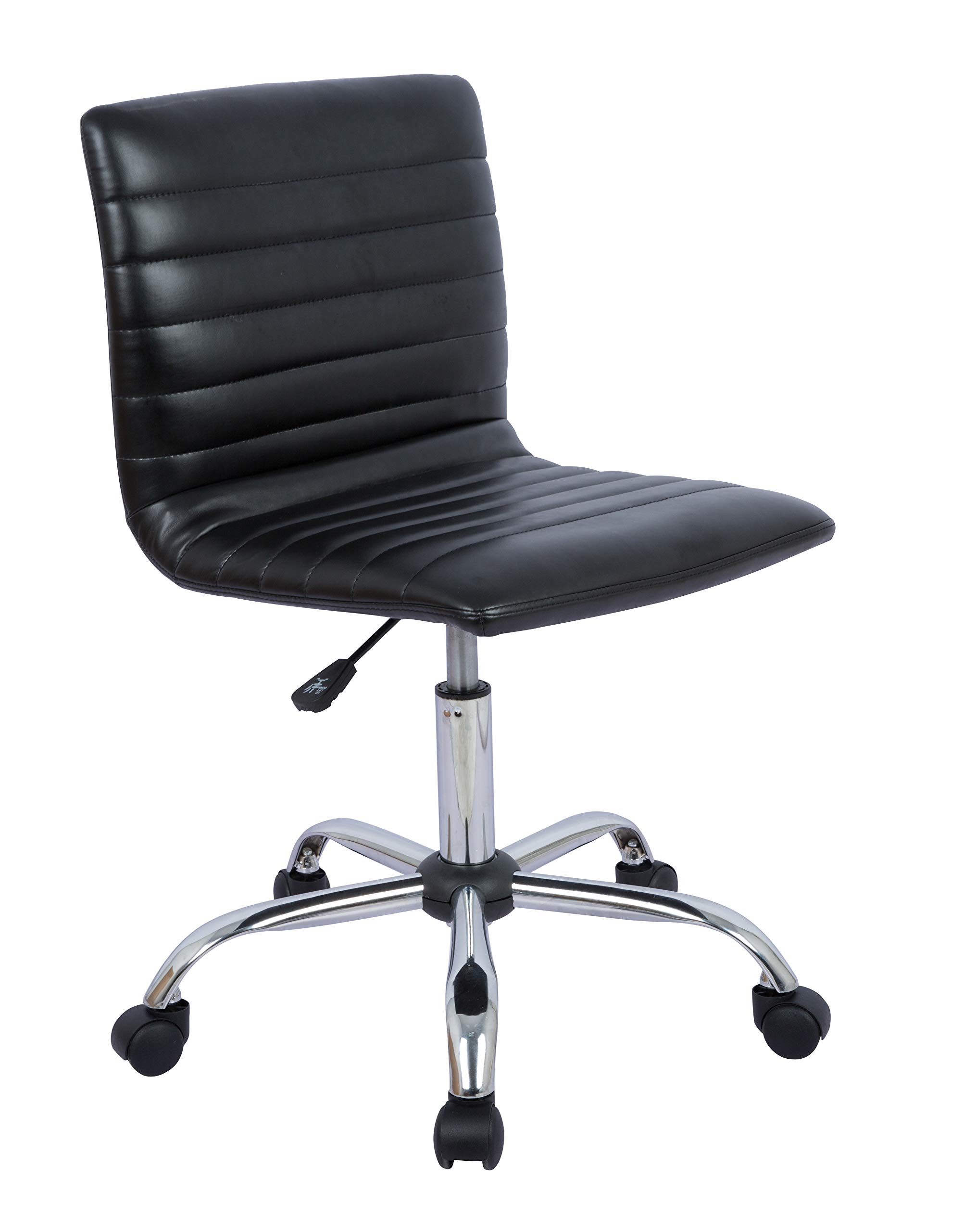 AmazonBasics Modern Adjustable Low Back Armless Ribbed Office Desk Task Chair, Black