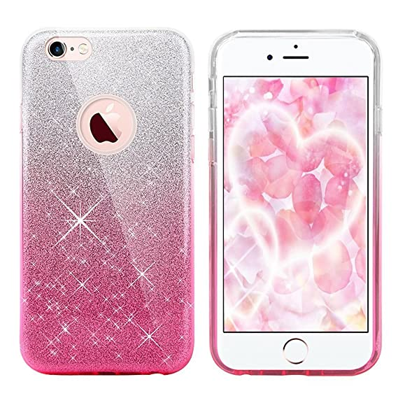 best authentic 9b1ea 7ecdb iPhone 8 Case, iPhone 7 case,Eraglow iPhone 7 8 Back Cover Shinning  Protective Bumper Sparkle Bling Glitter Case for 4.7 inches iPhone 7/8 ...