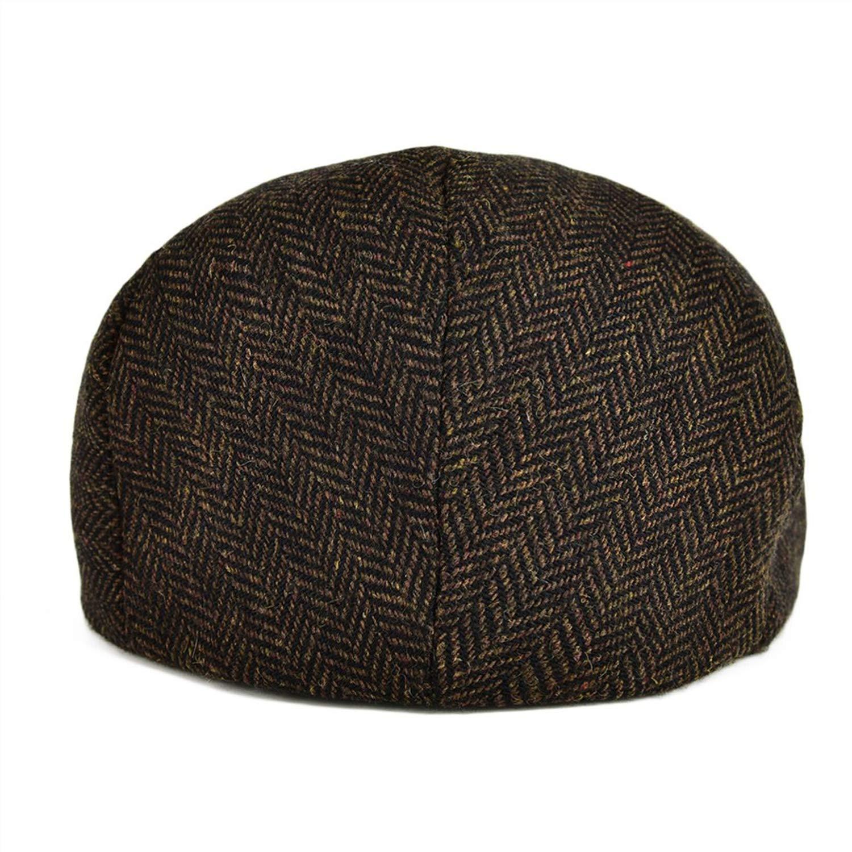 XINBONG Wool Tweed Herringbone Flat Cap Coffee Brown Black Summer Boina Men Women Berets Ivy Newsboy Hat