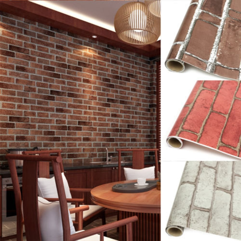 GOOTRADES 10M 3D Vintage Brick Pattern Wall Stickers Self-adhesive Wallpaper Decal for Home (Red)