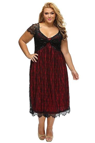 4a884897075 Lalagen Women s Plus Size Lace Cap Sleeve Evening Party Midi Dress Red XL