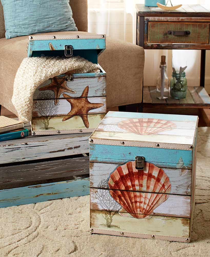 The Lakeside Collection Set of 2 Decorative Trunks Coastal