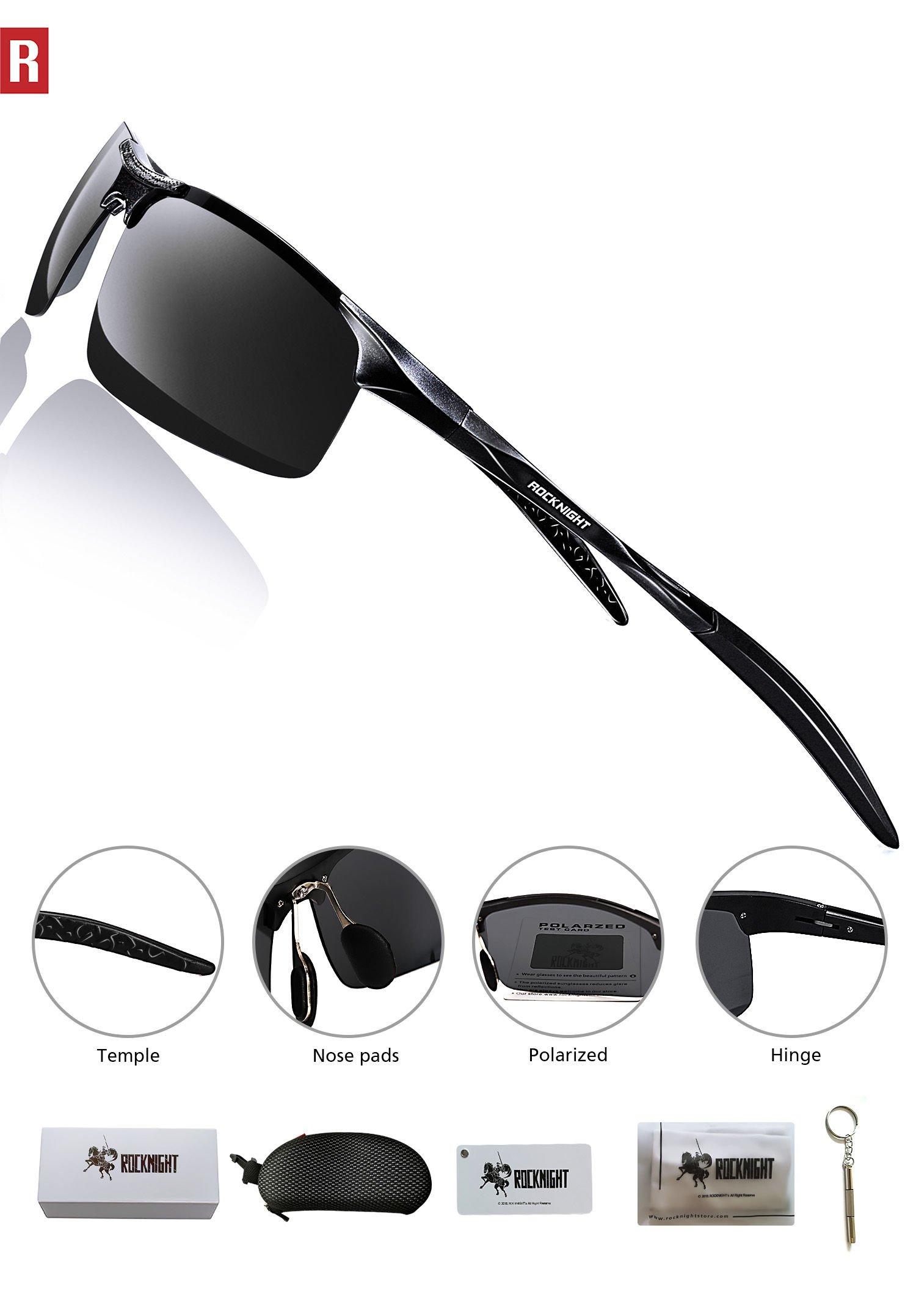 d55cc20890e ROCKNIGHT Driving Polarized Sunglasses for Men UV Protection HD Glasses  Ultra Lightweight Al-Mg Metal Outdoor Golf Fishing Sports Sunglasses  Rimless - A8177 ...