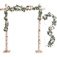 Ling's moment Wedding Arch Flowers 2 Rows 6.5ft Blush Dusty Rose Floral Garland Greenery Garland for Wedding Ceremony…