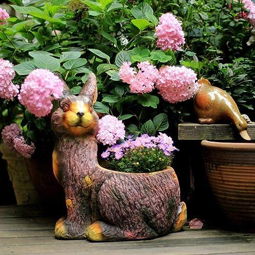Mlzaq Conejo Tiesto decoración del jardín Animal Lindo Creativo de la Personalidad decoración del jardín suculento jardín en Maceta Planta- 43 * 32 * 25 cm Brown: Amazon.es: Hogar