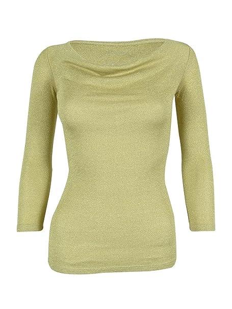 75822aa1e5f91 INC International Concepts Women s Metallic 3 4 Sleeve Cowl Neck Top ...