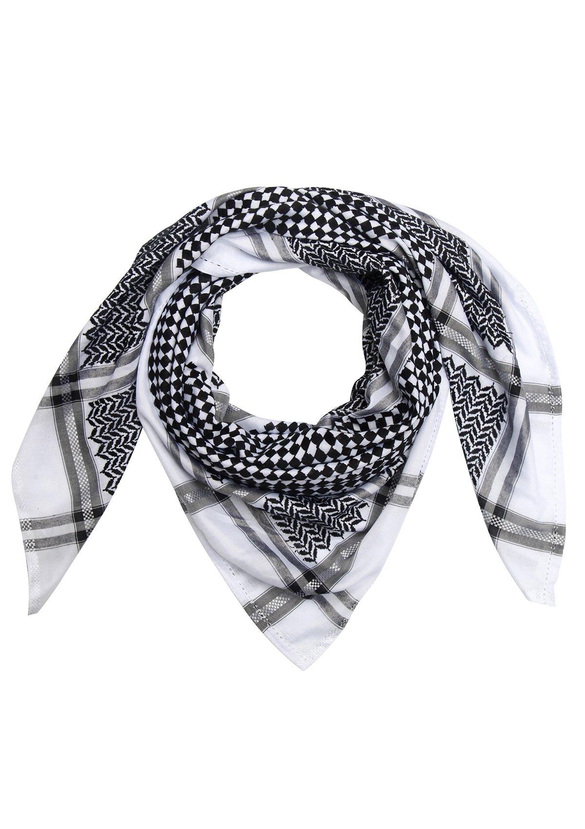 Merewill Premium Original Arabic Scarf 100% Cotton Shemagh Keffiyeh 49''x49'' Arab Scarf Classic Black