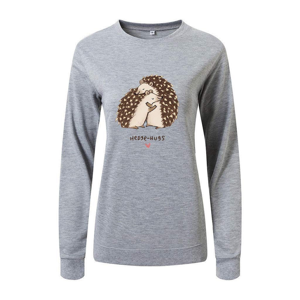jin&Co Pullover Sweatshirts for Women 2019 Classic-Fit Long Sleeve O-Neck Printed Casual Tops Blouse