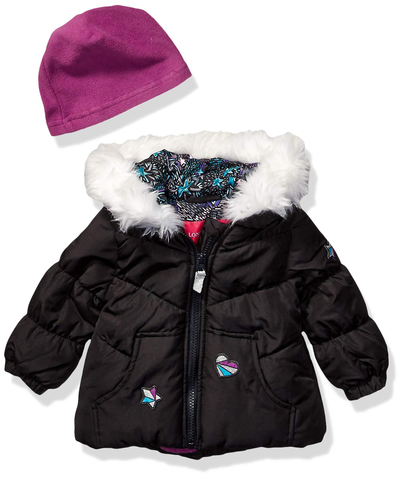 London Fog Baby Girls Puffer Jacket with Scarf & Hat, Black Solid, 18Mo by London Fog