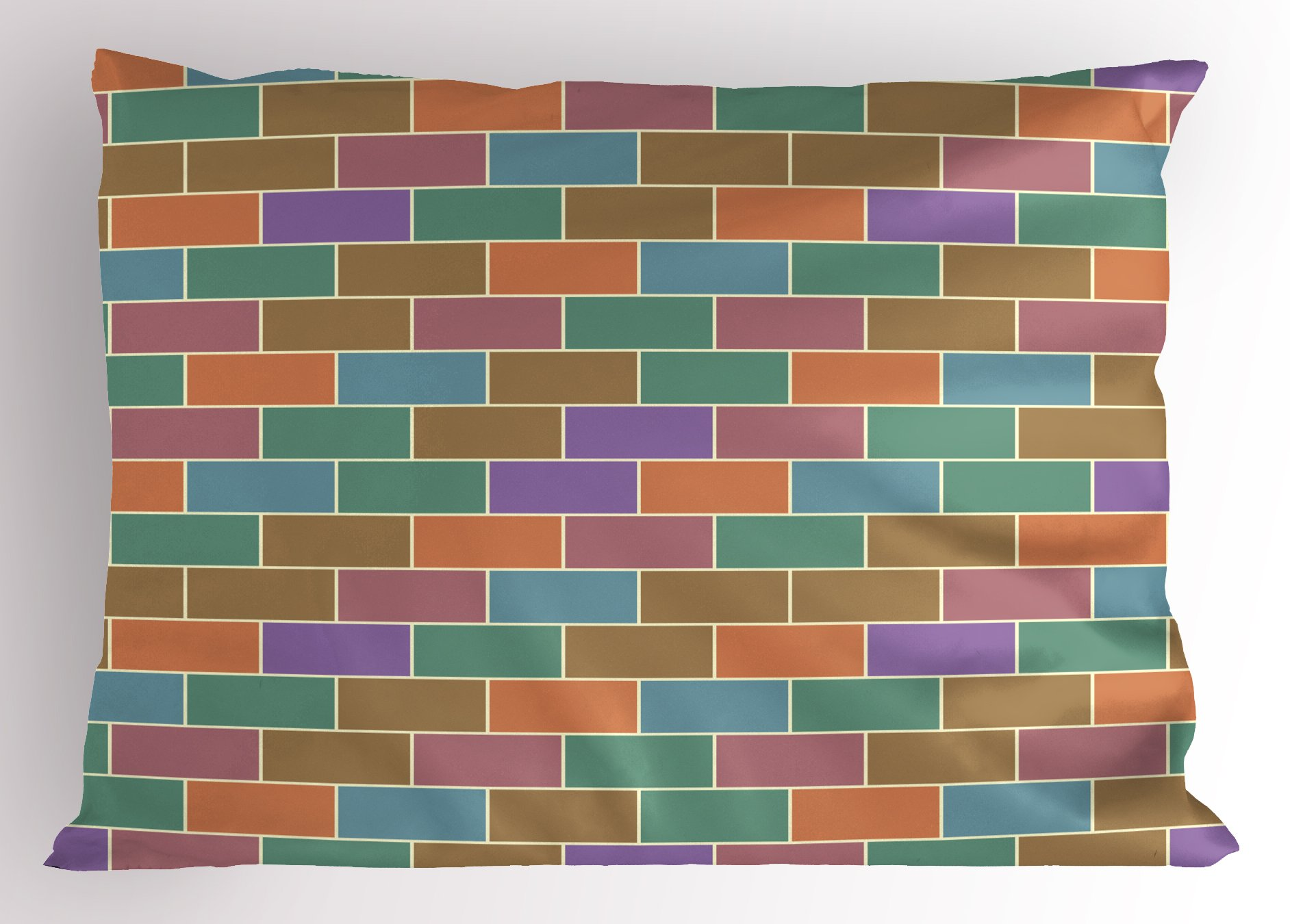 Ambesonne Colorful Pillow Sham, Vintage Brick Wall Motif Geometric Rectangles Pattern Retro Design Inspirations, Decorative Standard Size Printed Pillowcase, 26 X 20 inches, Multicolor