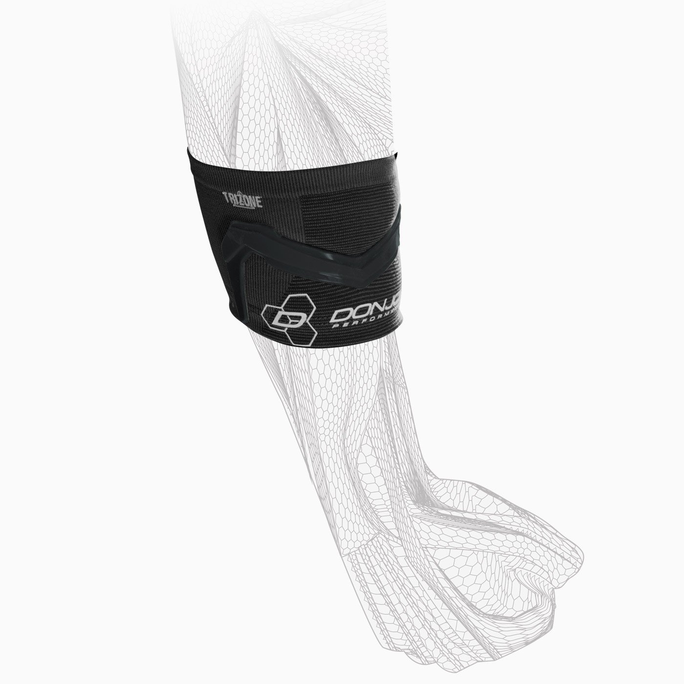 DonJoy Performance TRIZONE Compression Sleeve: Tennis/Golfers Elbow Support, Black, Medium