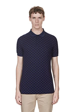 27000d398 Amazon.com  Fred Perry M1590 Mens Tonal Chequerboard Pique Shirt ...