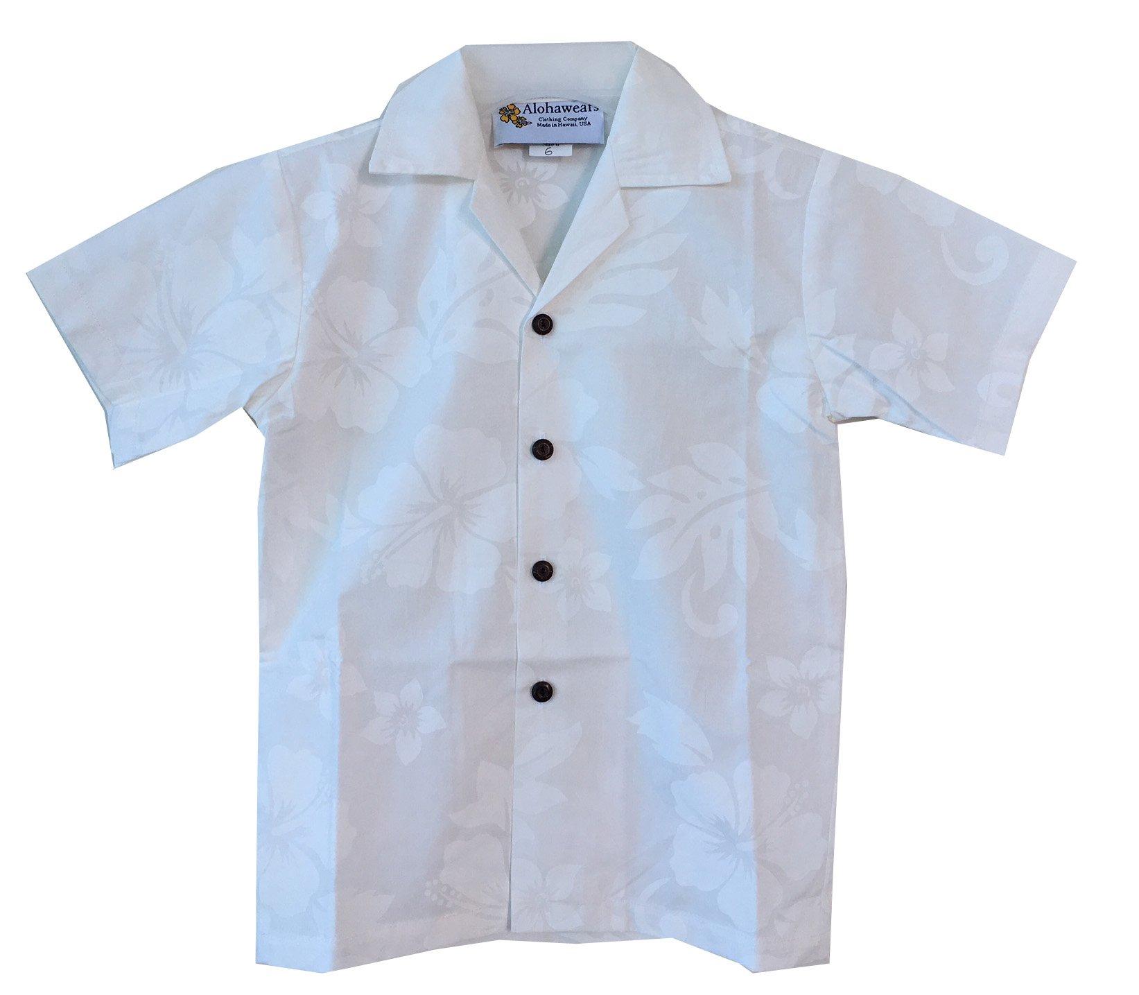 Alohawears Clothing Company Boy's White Wedding Cruise Luau Hawaiian Aloha Shirt (12, White/White)