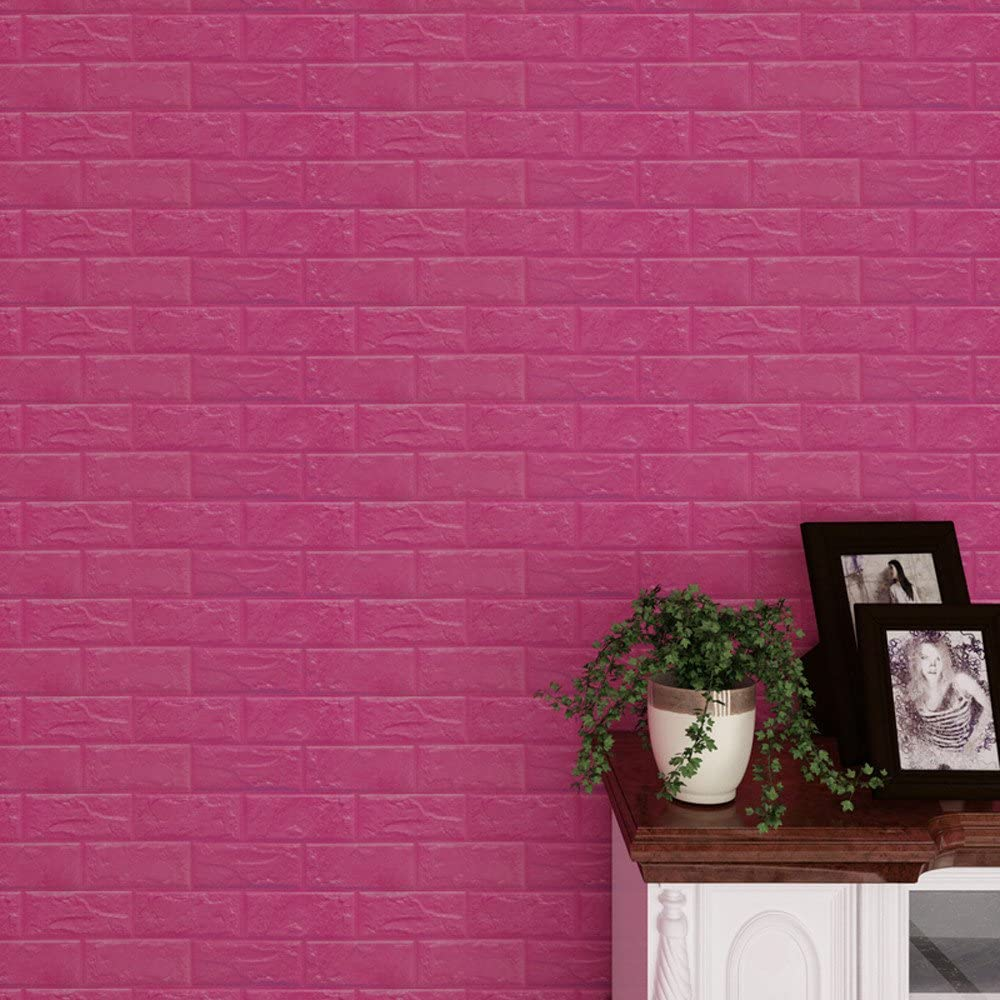 Amazon Com Ouniman 3d Brick Pe Foam Wall Panels Peel And Stick Wallpaper Self Adhesive Decorative Faux Brick Textured Effect Wall Panel Kids Room Background Kitchen Living Room Decor 1 Pack 1 7x1ft Hot Pink Home