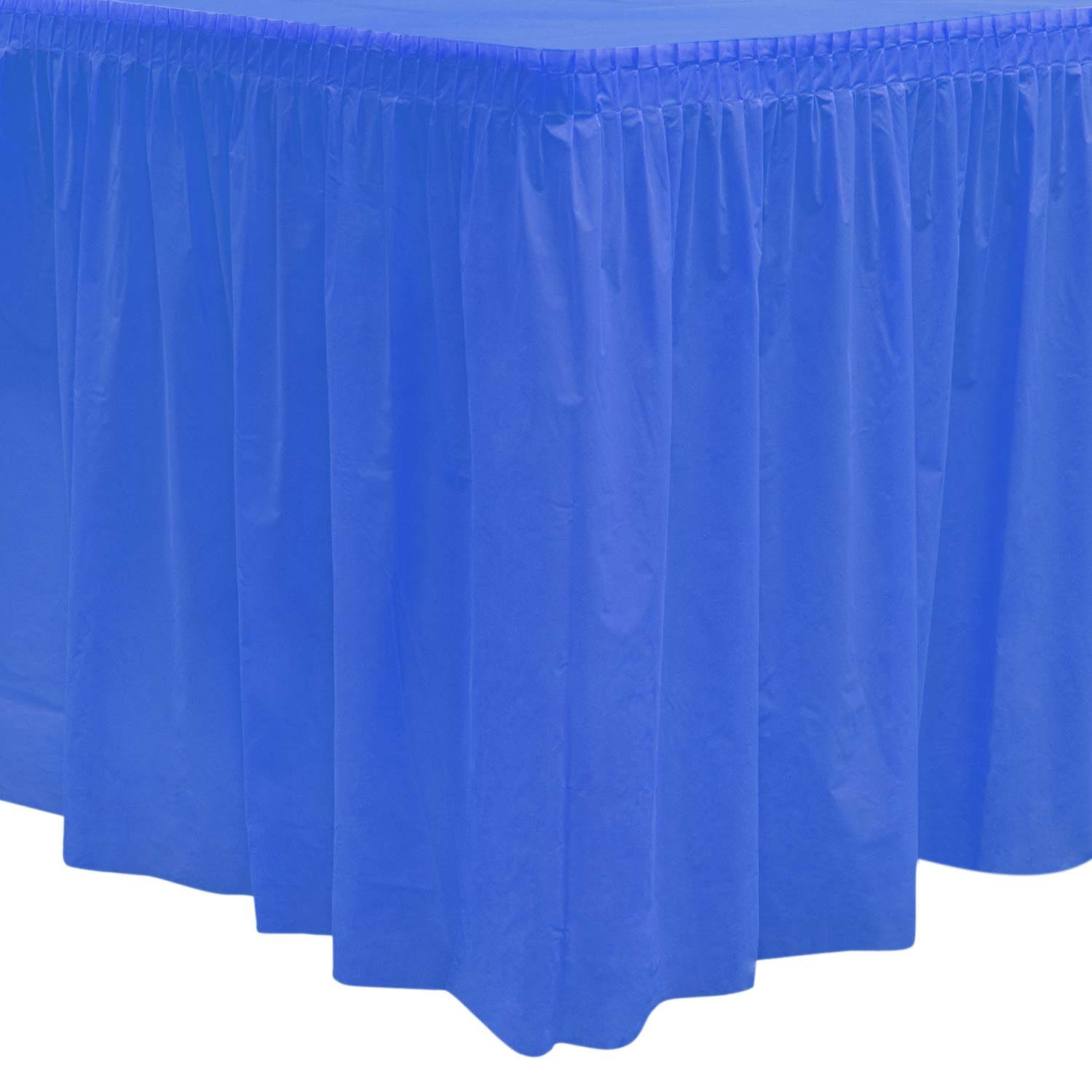 Party Essentials Heavy Duty Plastic Table Skirt, 29'' x 14', Royal Blue