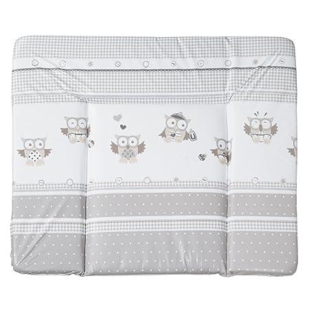 Wickeltischauflage Eulenbabys wasserabweisend und abwaschbar /• Wickelunterlage Wickel Tisch Auflage Aufsatz Matte 85 x 75 cm Grau