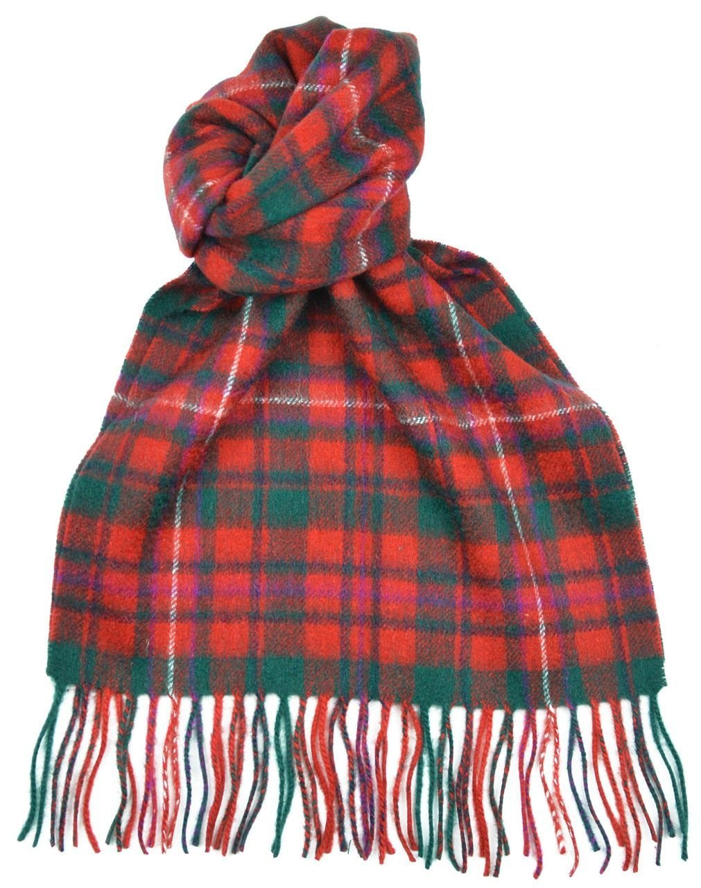 Lambswool Scottish Clan Scarf Mackinnon Red Modern Tartan