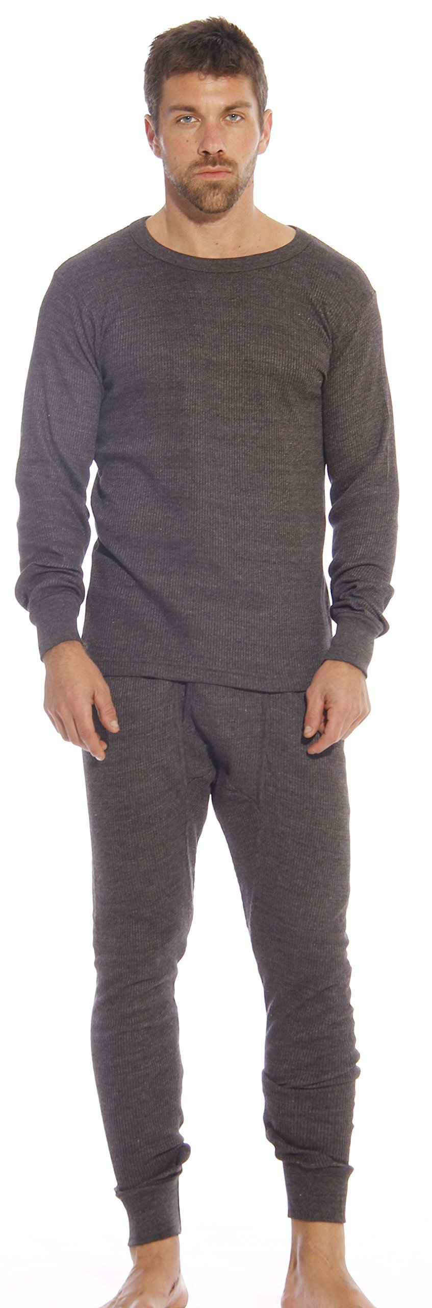 At The Buzzer Thermal Underwear Set for Men 95962-Charcoal-XL by At The Buzzer