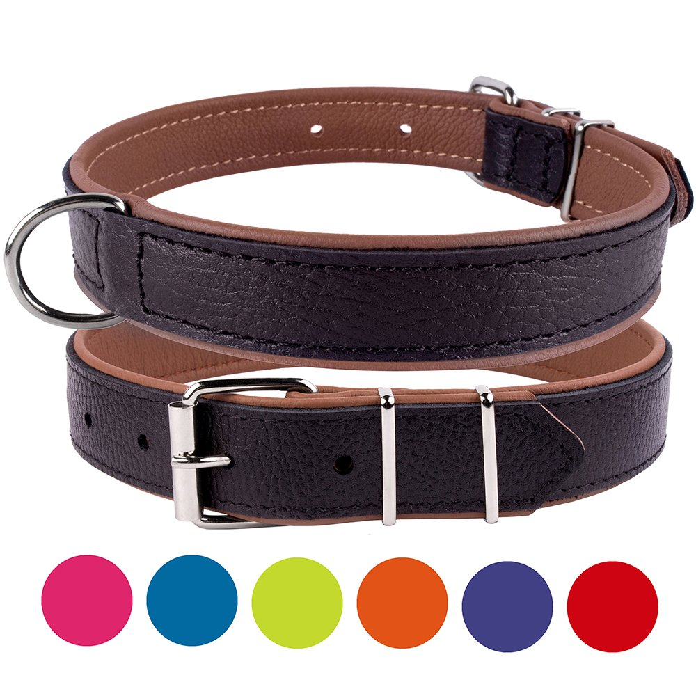 Brown Neck Fit 20\ Brown Neck Fit 20\ CollarDirect Leather Dog Collar Dual color Pink Red Green bluee Brown Purple Small Medium Large Soft (Neck Fit 20 -22 , Brown)
