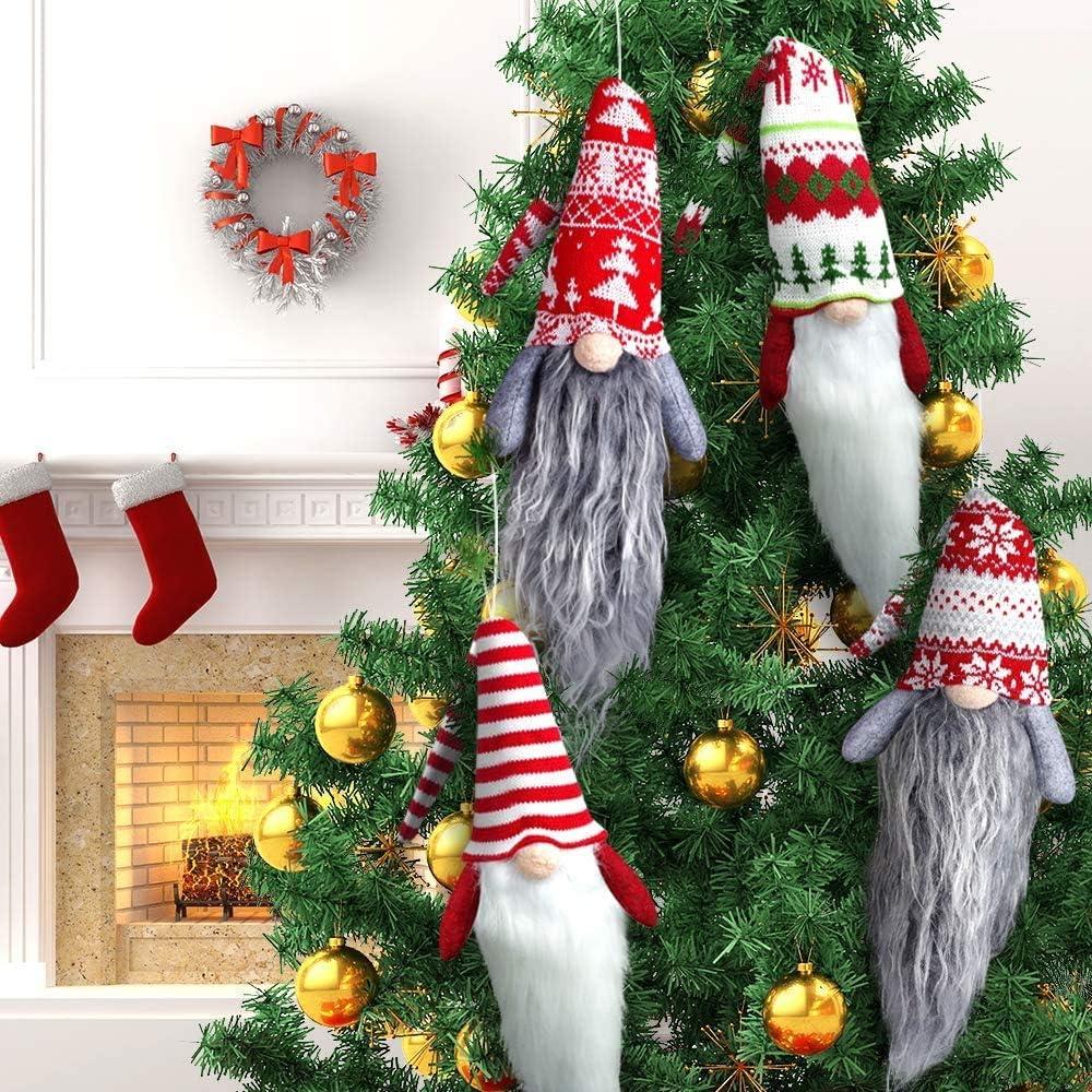 22 inches Gnome Christmas Ornaments Set of 4, Large Handmade Swedish Tomte Xmas Plush Gnomes Christmas Decorations, Scandinavian Santa Elf Tree Ornaments, Hanging Christmas Tree Decorations Home Decor