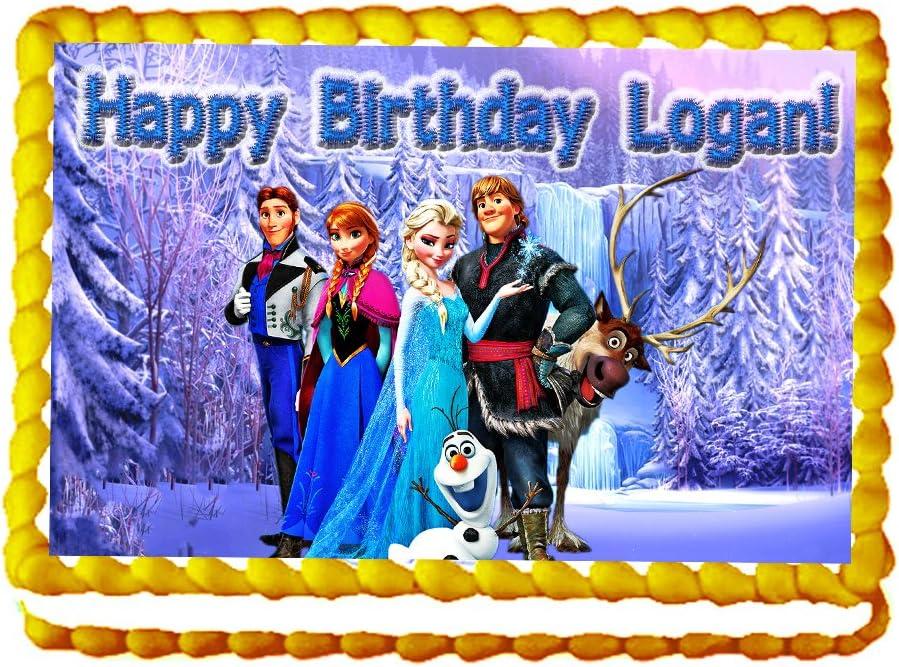 Amazon.com: Frozen 1/4 Hoja Photo torta de cumpleaños Topper ...