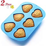 Chefaith 2 Pcs 6-Cup Silicone Muffin / Cupcake Baking Pan [Heart-Shaped Baking Cups] - Non-Stick, Heat Resistant (Up to 480°F) Mini Cake Baking Mold / Tray, Food Grade Reusable Bakeware, Blue