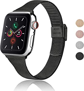 Meliya Metal Slim Bands Compatible with Apple Watch Band 38mm 40mm 42mm 44mm, Stainless Steel Metal Clasp Thin Replacement Band for iWatch Series 5 4 3 2 1 (Black, 38mm/40mm)