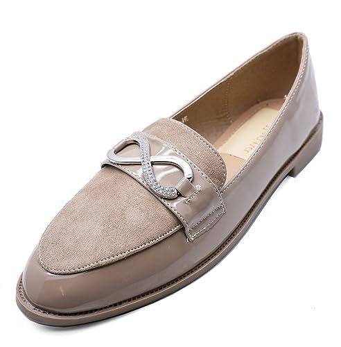 HeelzSoHigh Mujer Visón Sin Cordones Mocasines Mocasin Informal Elegante Trabajo Cómodo Zapato Plano Tallas 3-8 - Visón, 38 EU: Amazon.es: Zapatos y ...
