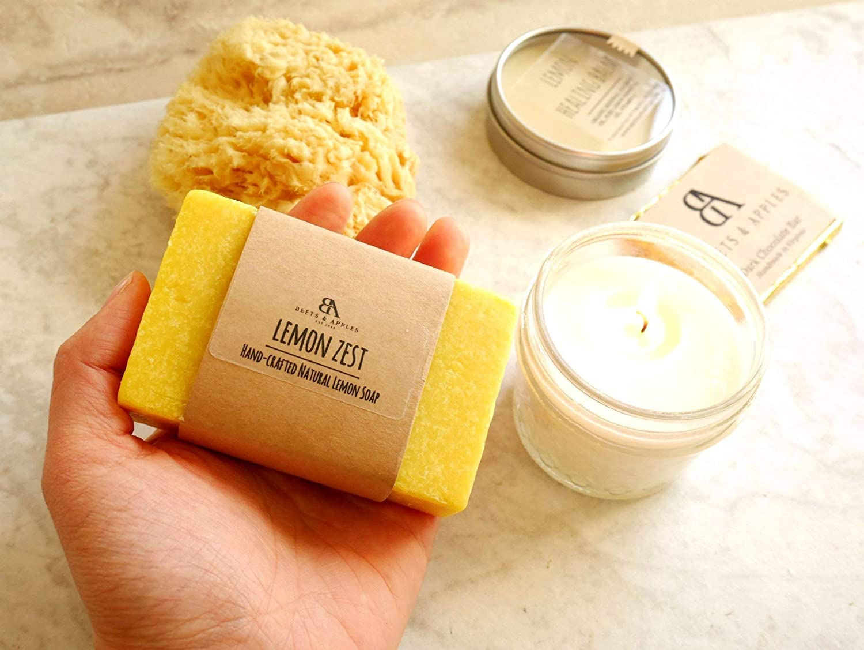SHIP NEXT DAY Mom Birthday Gifts Spa Gift Basket Soap Premium Lemon Bath