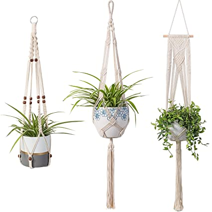 Plant Hangers Indoor Wall Hanging Planter Holder Basket Flower Pot Holder Handmade Cotton Rope 4 Legs Boho Home Decor Traveling Hanging Baskets