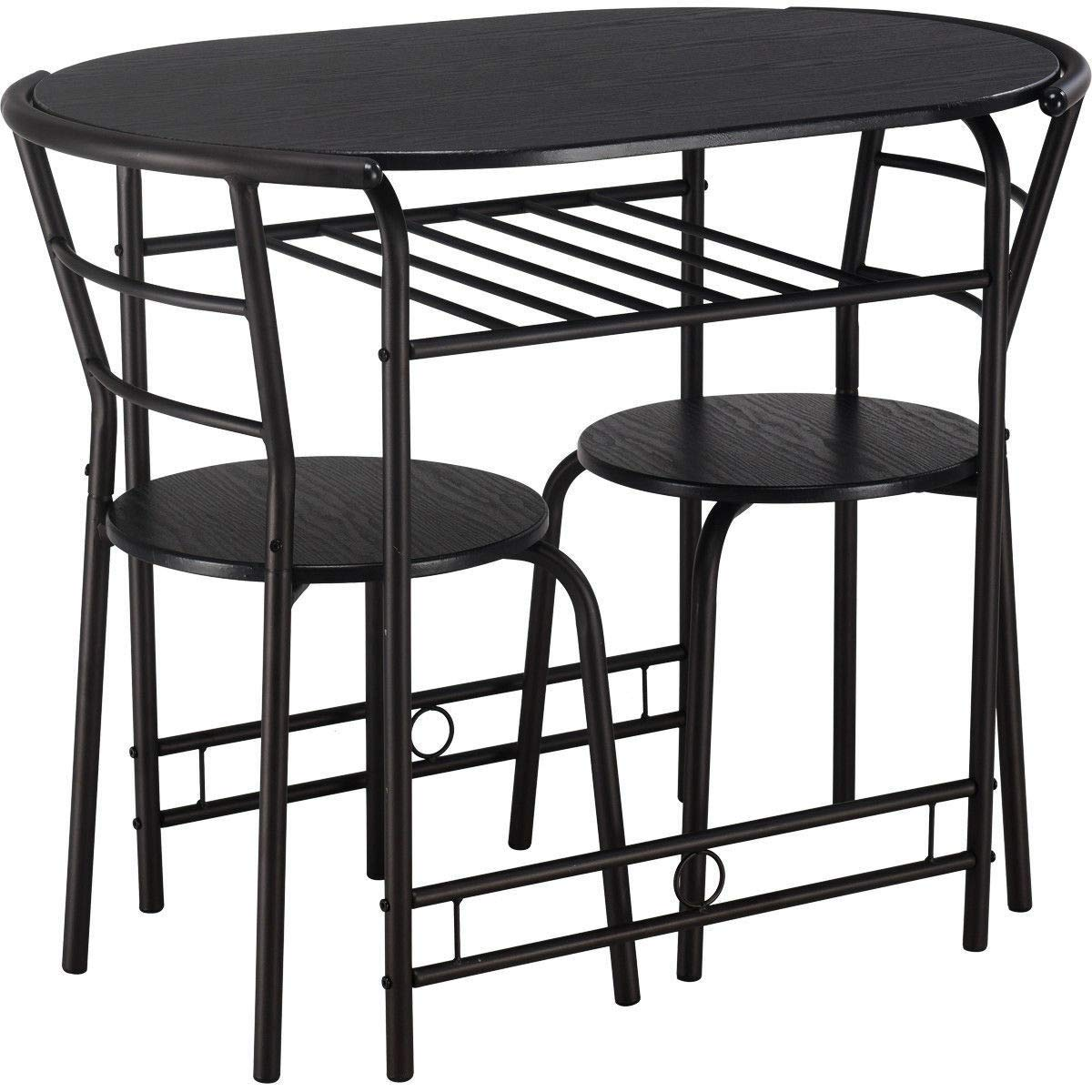 3 Piece Dinette Set Bistro Table and 2 Chairs in Black Finish with Wine Rack