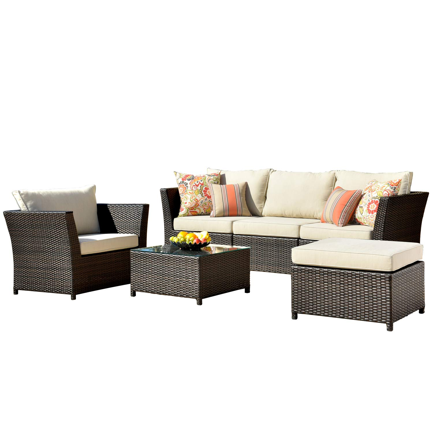 ovios Patio Furniture Set, Backyard Sofa Outdoor Furniture 6 Pcs Sets,PE Rattan Wicker sectional with 2 Pillows and Coffee Table, No Assembly Required,Brown