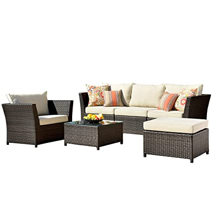 Amazing Ovios Patio Furniture Set Backyard Sofa Outdoor Furniture 6 Pcs Sets Pe Rattan Wicker Sectional With 2 Pillows And Patio Furniture Cover No Assembly Home Interior And Landscaping Ponolsignezvosmurscom