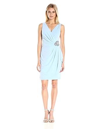 b06f700a38cc72 Calvin Klein Women's Sleeveless V Neck Side Ruched Beading Detail Sheath  Dress, Serene, ...