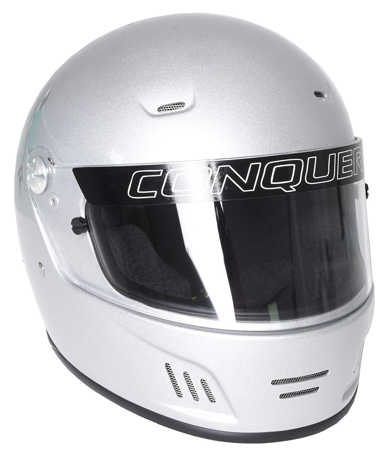 Conquer 350-FF-SA15-SIL-M Silver Medium Snell SA2015 Approved Full Face Auto Racing Helmet, 1 (Non-Carb Compliant)