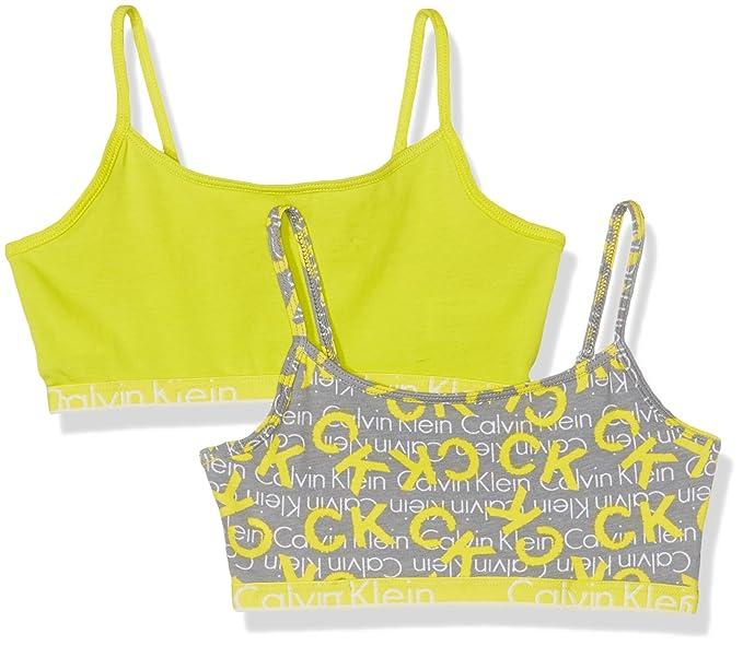 c40fc055d9e Calvin Klein Girls 2 Pack String Bralette Lingerie Set, Multicoloured (1 Ck  Spray Logo Medium Grey / 1 Sulphur 096), 128 (Size: 8-10): Amazon.co.uk: ...