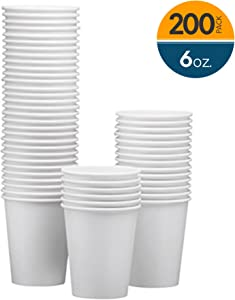 NYHI 200-Pack 6oz White Paper Disposable Cups – Hot/Cold Beverage Drinking Cup for Water, Juice, Coffee or Tea – Ideal for Water Coolers, Party, or Coffee On the Go'