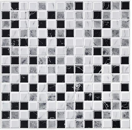 Decalmile 10 Pieces Stickers Carrelage 3d 30 5cm X 30 5cm Noir Blanc Marbre Mosaique Pierre Carrelage Adhesif Mural Cuisine Salle De Bain Carreaux De Ciment Mural Decoration Amazon Fr Cuisine Maison