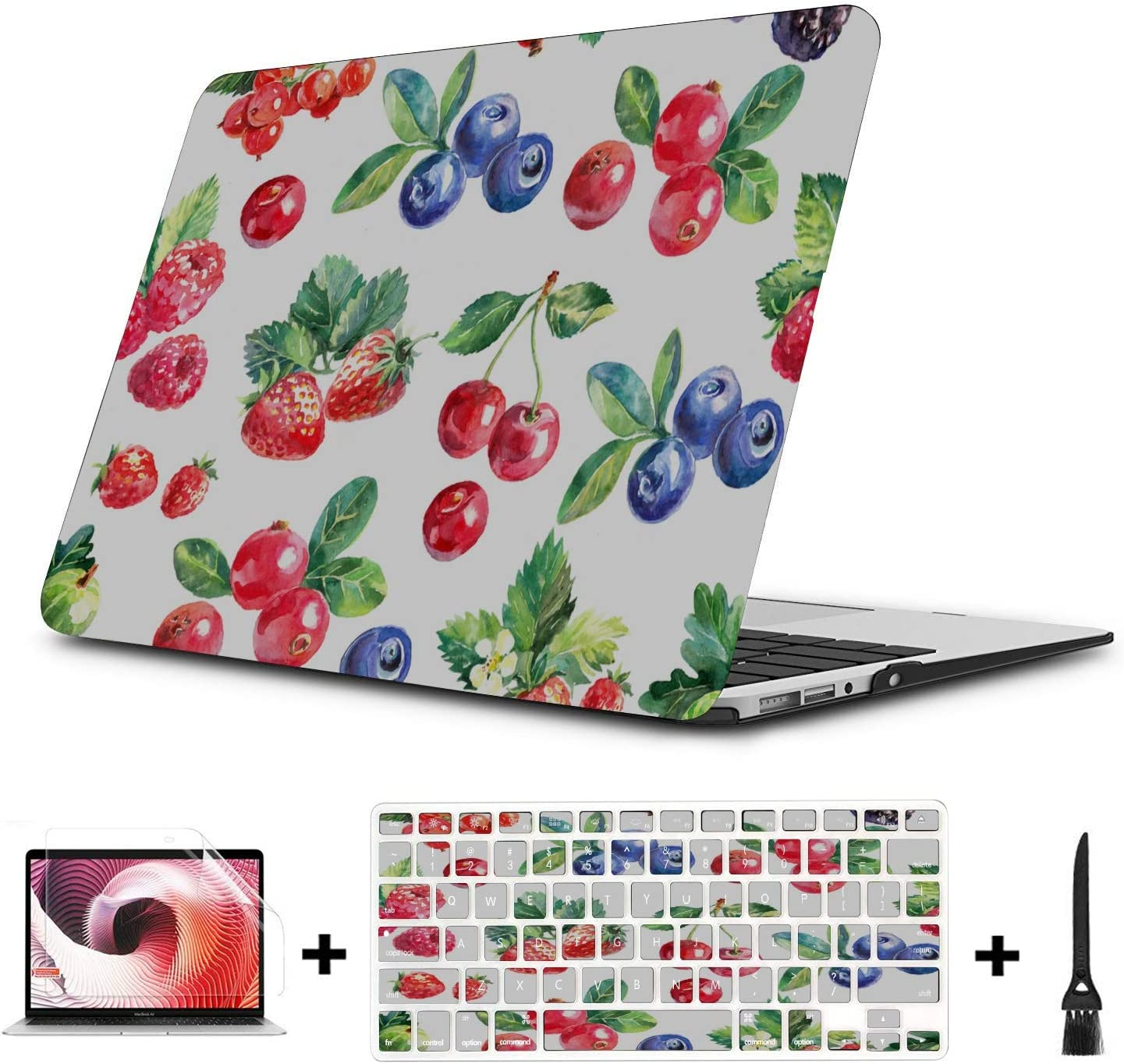 13inch MacBook Pro Case Summer Fruit Cherry Blueberry Drink Plastic Hard Shell Compatible Mac Air 11 Pro 13 15 13 Inch MacBook Case Protection for MacBook 2016-2019 Version