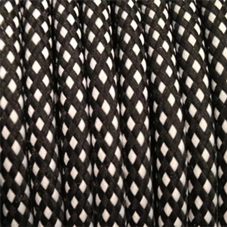 Câble électrique Textile Fil électrique Tissu Vichy Noir Et Blanc