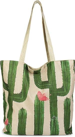 73e69d75041d1 styleBREAKER Shopper Einkaufstasche mit Kaktus und Blüten ...